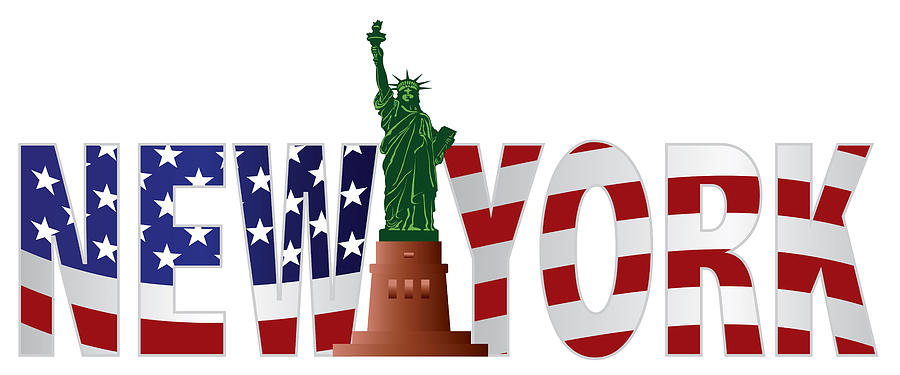 new york text outline us flag in color photograph by jit lim. Black Bedroom Furniture Sets. Home Design Ideas