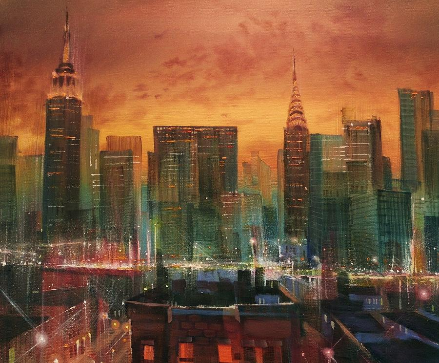 New York The Emerald City Painting By Tom Shropshire