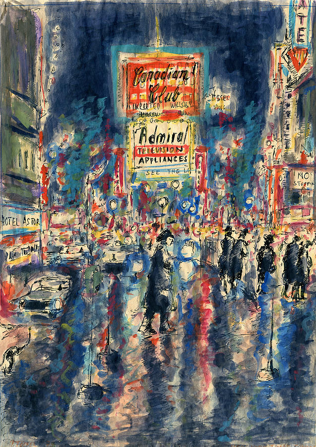 Broadway Painting - New York Times Square 79 - Watercolor Art Painting by Peter Potter