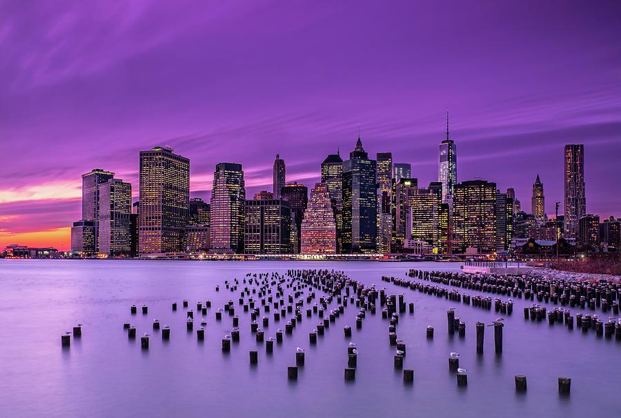 Night Photograph - New York Violet Sunset by J.g. Damlow