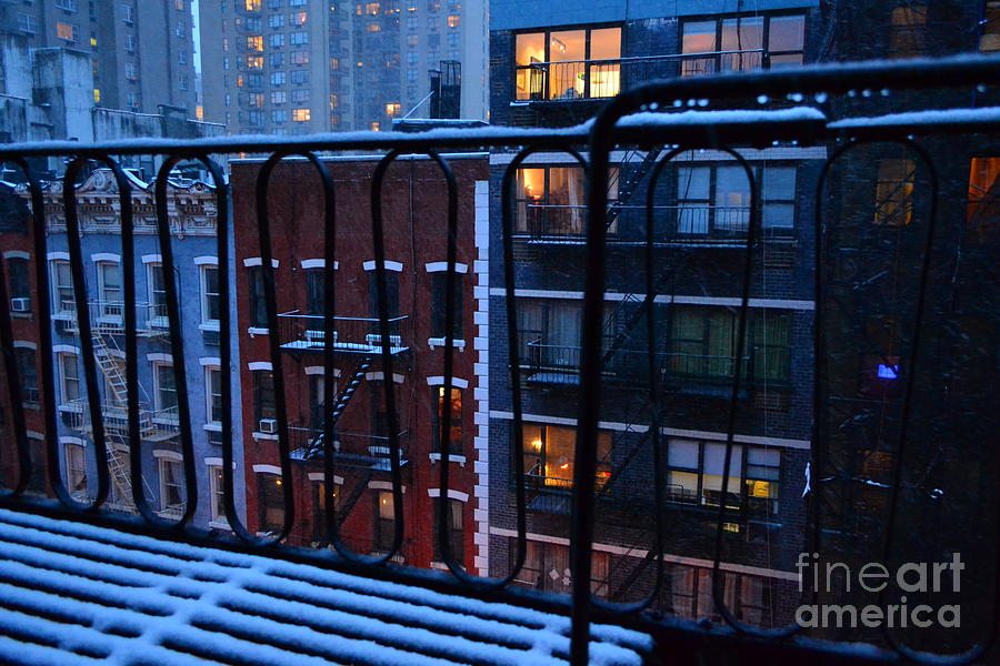New York Photograph - New York Window - Fire Escape In Winter by Miriam Danar