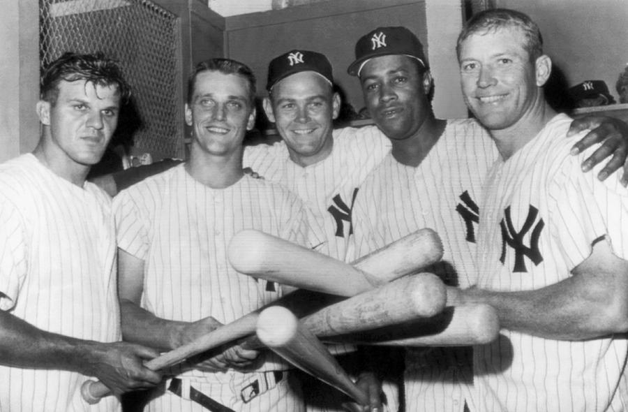 1950's Photograph - New York Yankee Sluggers by Underwood Archives
