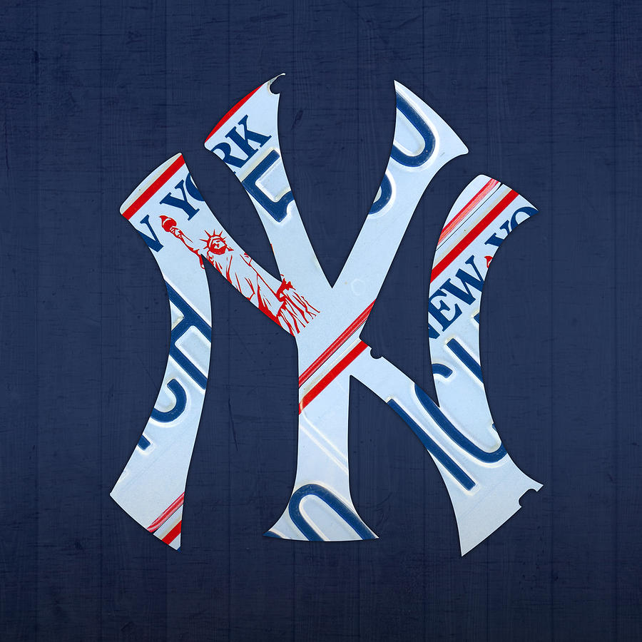 New York Yankees Mixed Media - New York Yankees Baseball Team Vintage Logo Recycled Ny License Plate Art by Design Turnpike
