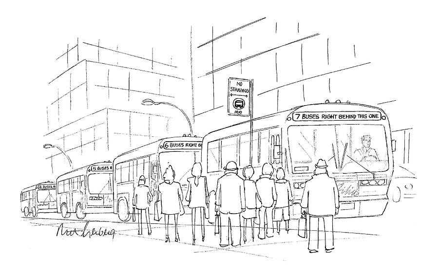 Bus Stops Drawing - New Yorker April 6th, 1998 by Mort Gerberg