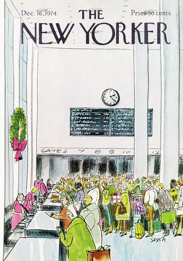 New Yorker December 16th, 1974 Painting by Charles Saxon