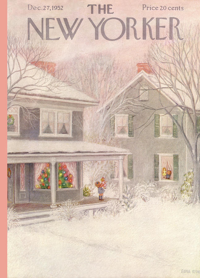 Suburb Painting - New Yorker December 27th, 1952 by Edna Eicke