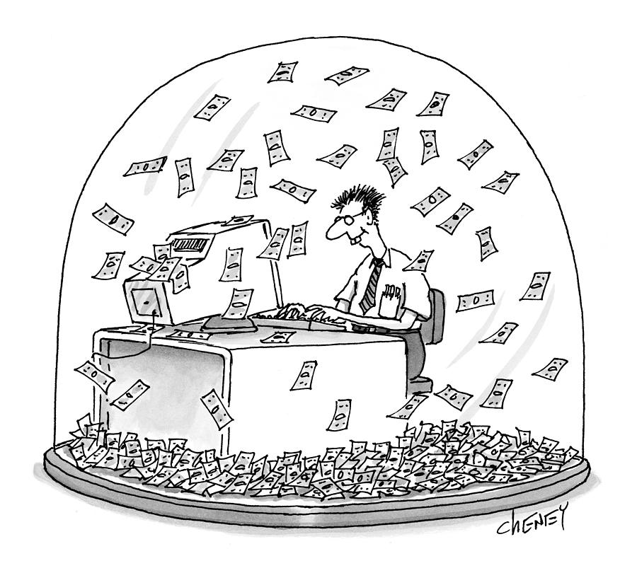 Snow Globes Drawing - New Yorker December 6th, 1999 by Tom Cheney