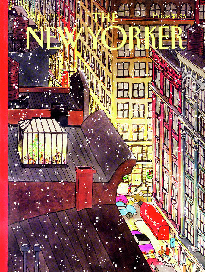 Dining Painting - New Yorker December 7th, 1992 by Roxie Munro
