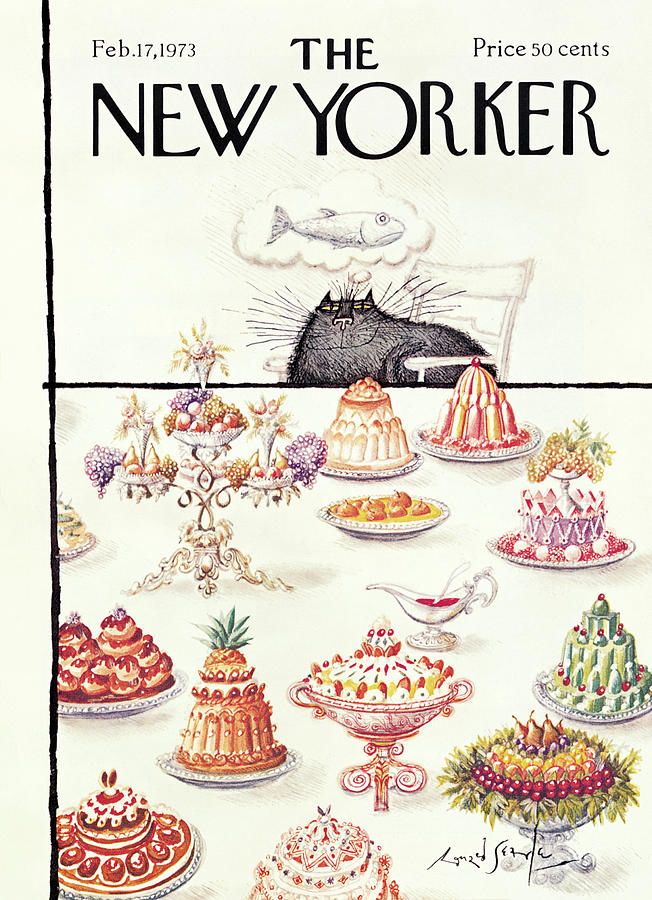 New Yorker February 17th, 1973 Painting by Ronald Searle