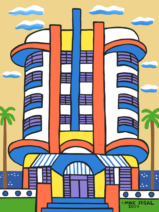 New Yorker Hotel Painting - New Yorker Hotel-miami Beach by Mike Segal