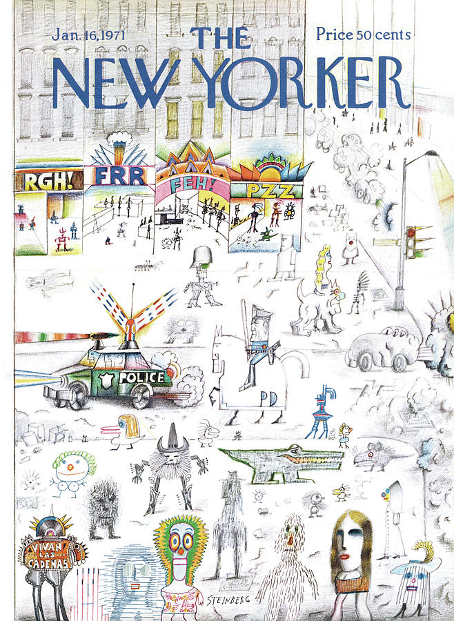 New Yorker January 16th, 1971 Painting by Saul Steinberg