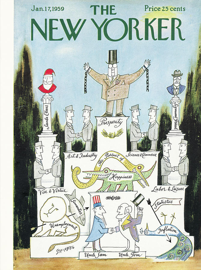 New Yorker January 17th, 1959 Painting by Saul Steinberg