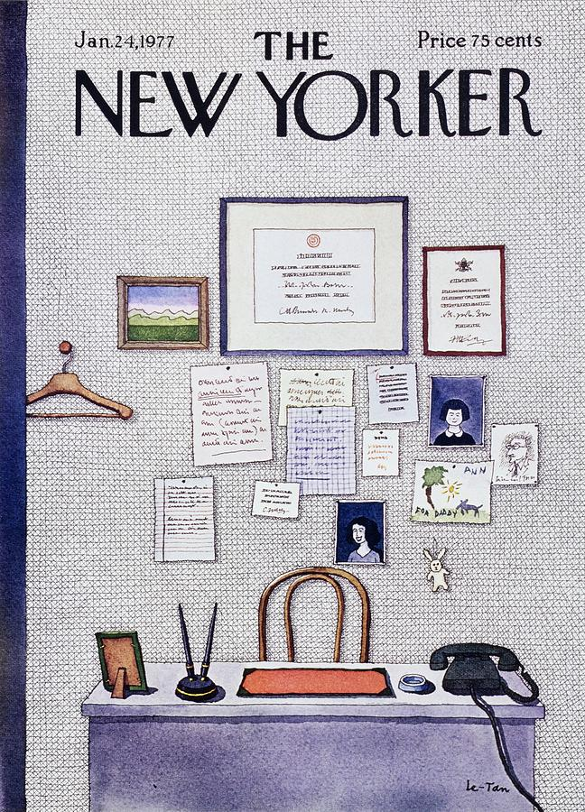 Illustration Painting - New Yorker January 24th 1977 by Pierre Le-Tan
