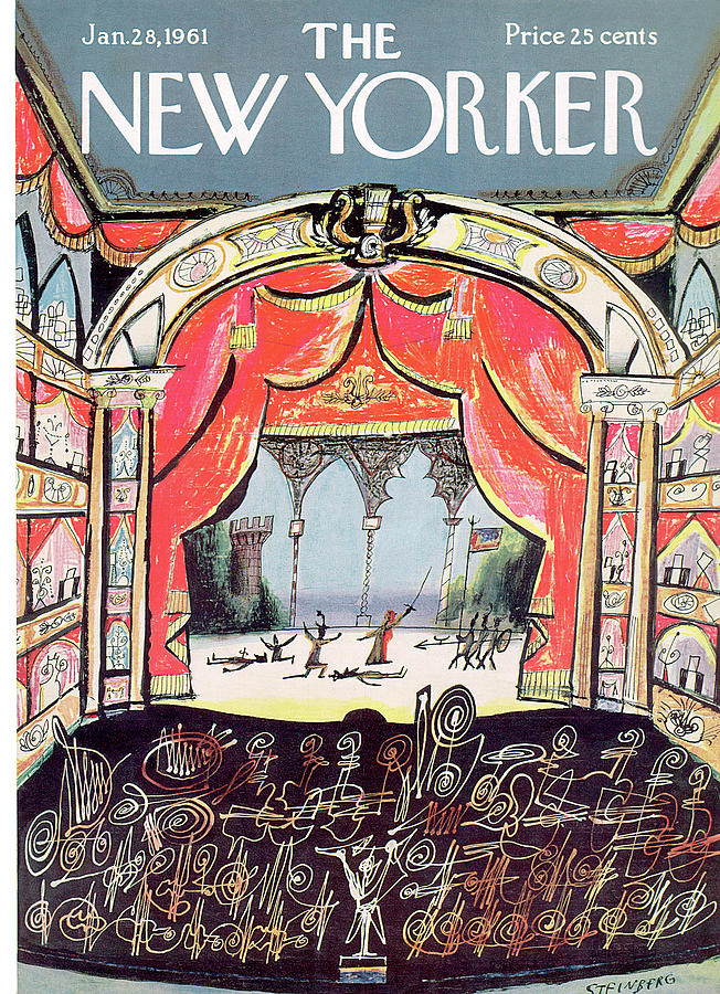 New Yorker January 28th, 1961 Painting by Saul Steinberg