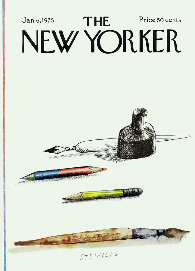 New Yorker January 6th, 1975 Painting by Saul Steinberg