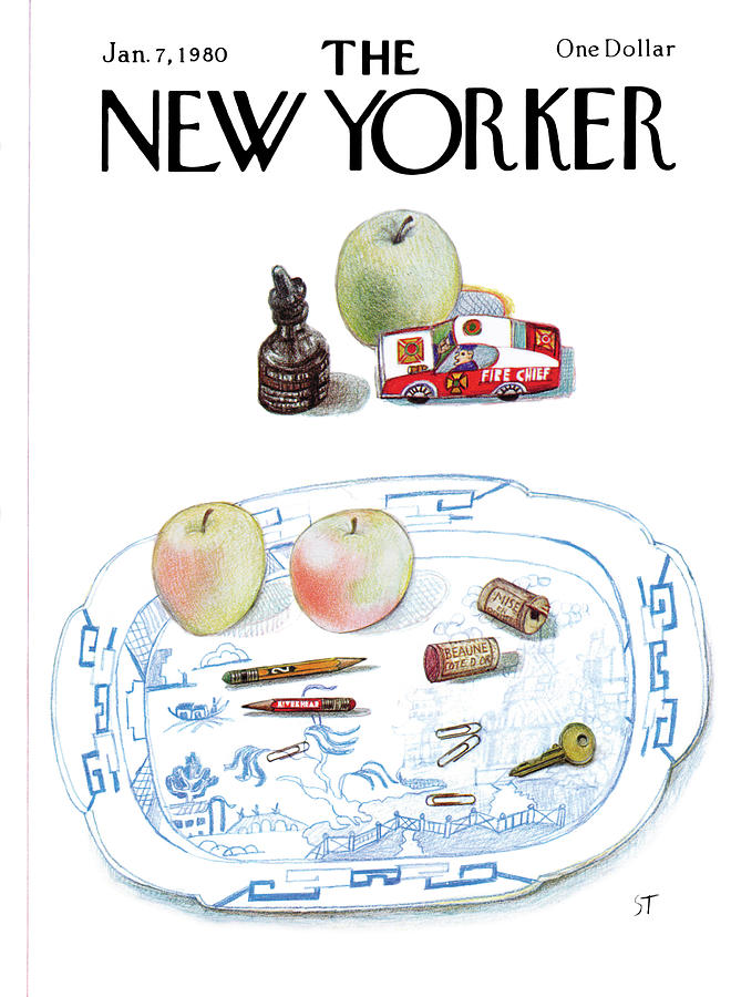 New Yorker January 7th, 1980 Painting by Saul Steinberg