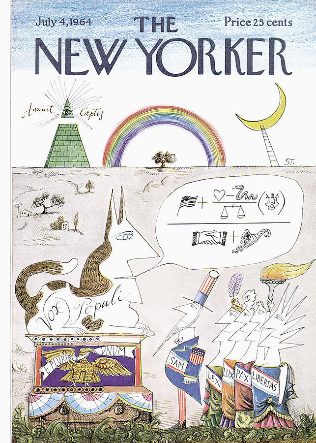 New Yorker July 4th, 1964 Painting by Saul Steinberg