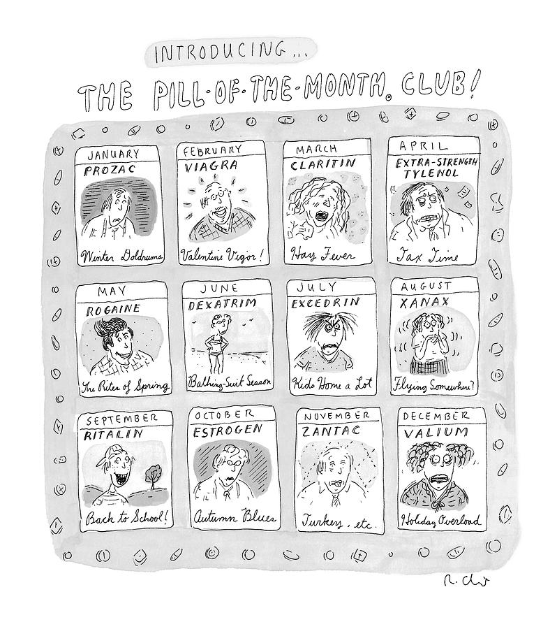 Drug Drawing - New Yorker June 8th, 1998 by Roz Chast