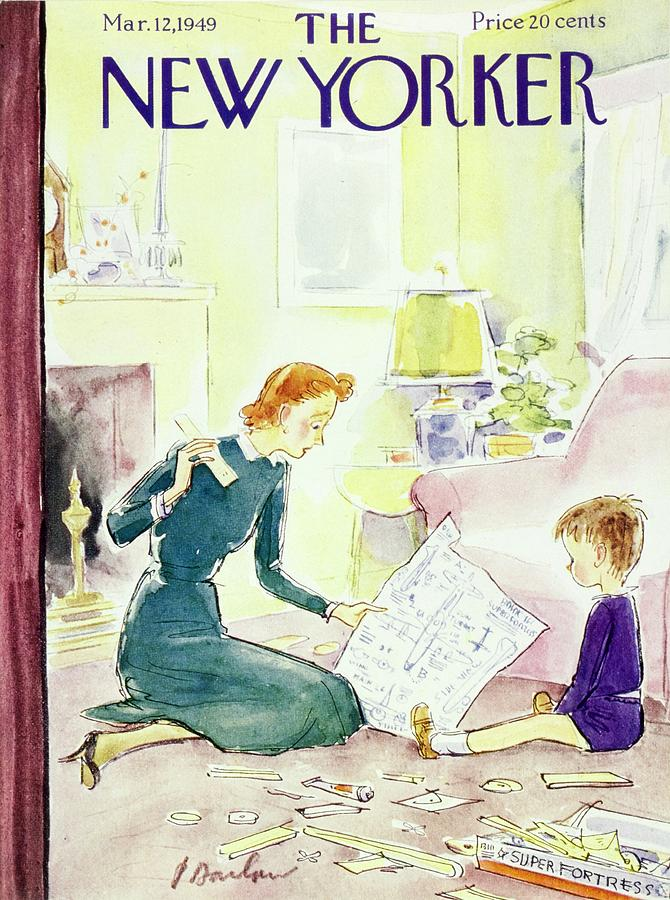 New Yorker Magazine Cover Of A Mother And Son Painting by Perry Barlow