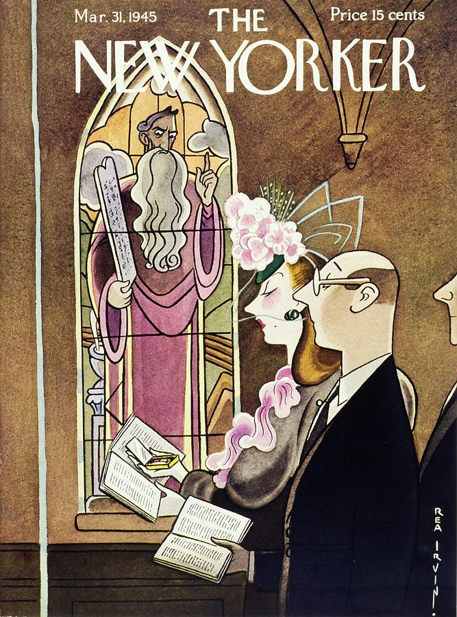 New Yorker Magazine Cover Of A Woman Using Painting by Rea Irvin