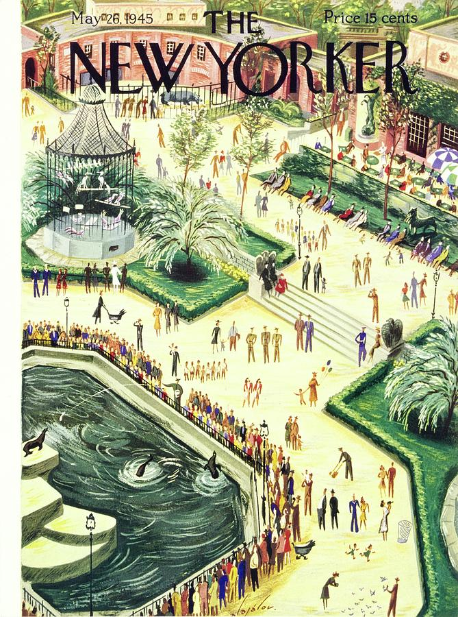 New Yorker Magazine Cover Of Central Park Zoo Painting by Constantin Alajalov