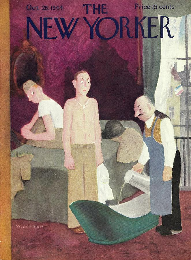 New Yorker Magazine Cover Of Soldiers In A Hotel Painting by William Cotton