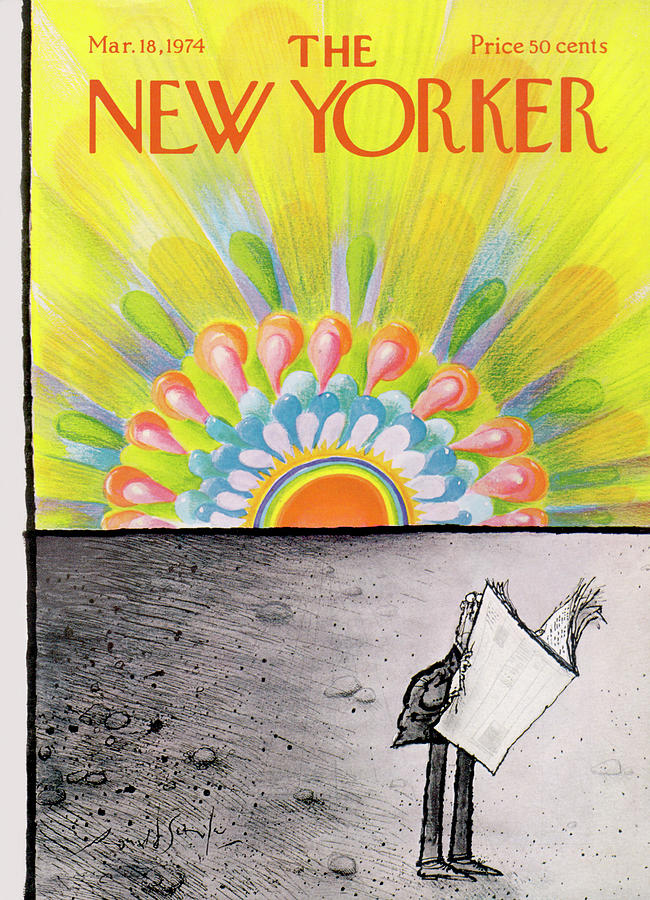 New Yorker March 18th, 1974 Painting by Ronald Searle