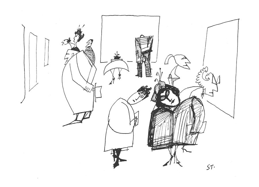 New Yorker March 8th, 1958 Drawing by Saul Steinberg