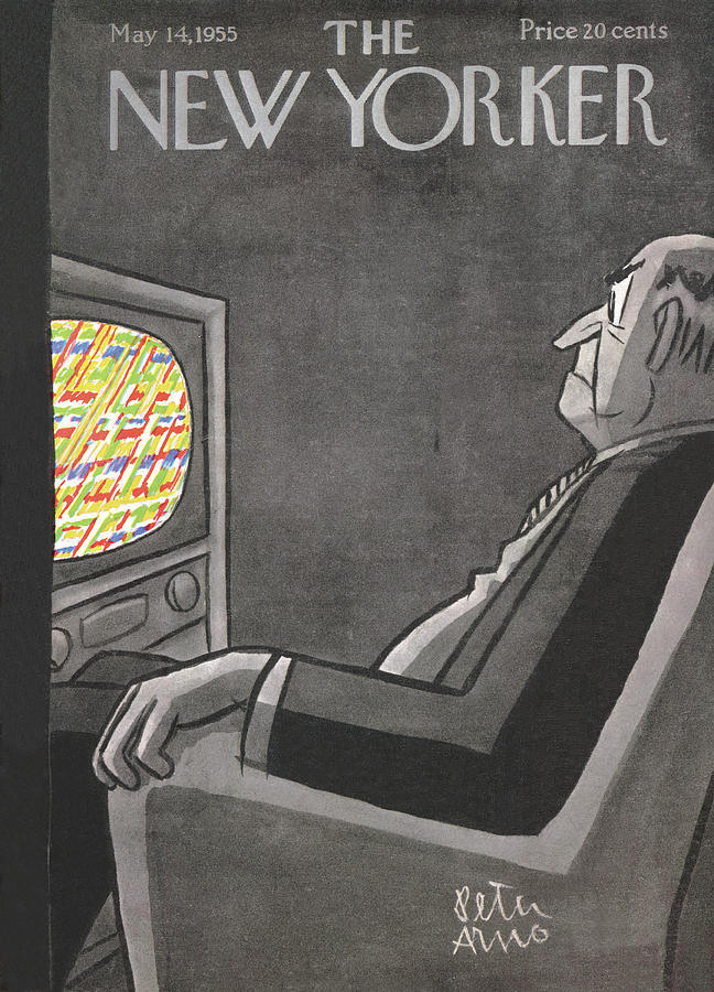 Television Painting - New Yorker May 14th, 1955 by Peter Arno