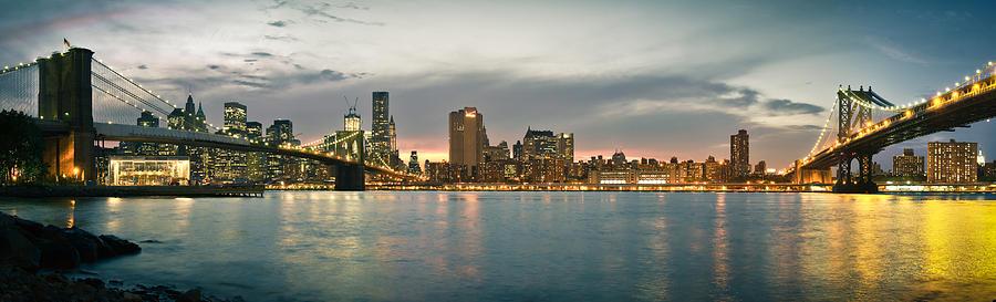 New York City Photograph - New York City - Brooklyn Bridge To Manhattan Bridge Panorama by Thomas Richter