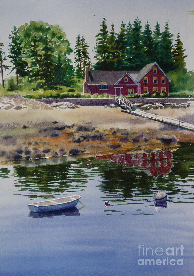 Pine Trees Painting - Newagen Dingy by Karol Wyckoff