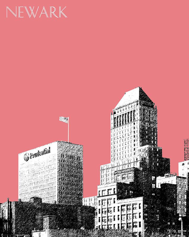 Architecture Digital Art - Newark Skyline - Salmon by DB Artist