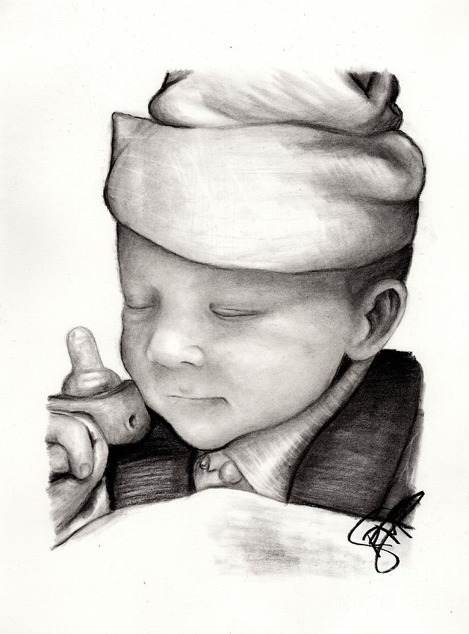 Baby Drawing - Newborn Baby by Rosalinda Markle