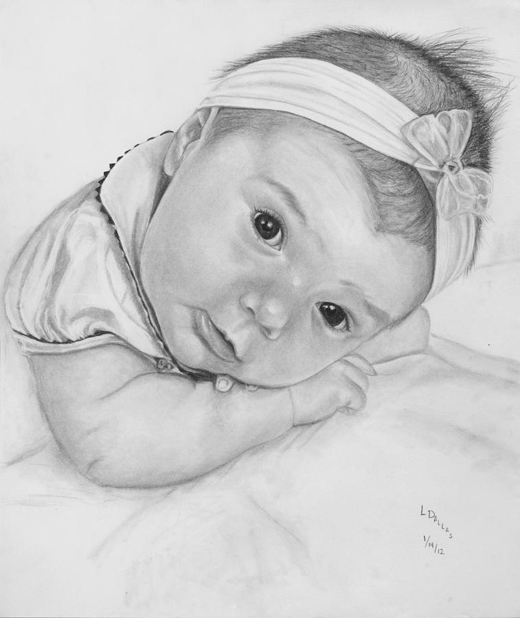 Newborn Jenna Drawing by Laura Dallas
