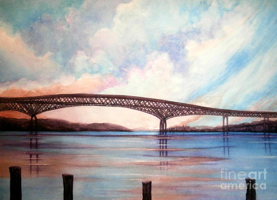 Newburgh Beacon Bridge Painting - Newburgh Beacon Bridge Sky  by Janine Riley
