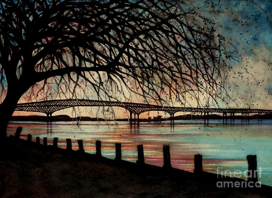 Newburgh Beacon Bridge Painting - Newburgh Beacon Bridge Sunset by Janine Riley