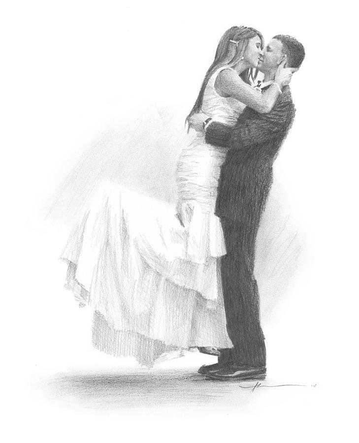 Newlyweds Kissing Pencil Portrait Drawing by Mike Theuer