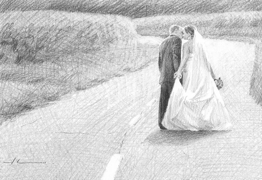 Newlyweds Walking Kissing Pencil Portrait Drawing by Mike Theuer