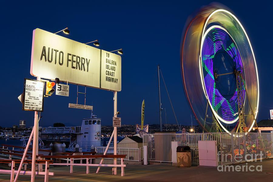 Auto Photograph - Newport Beach Auto Ferry by Eddie Yerkish