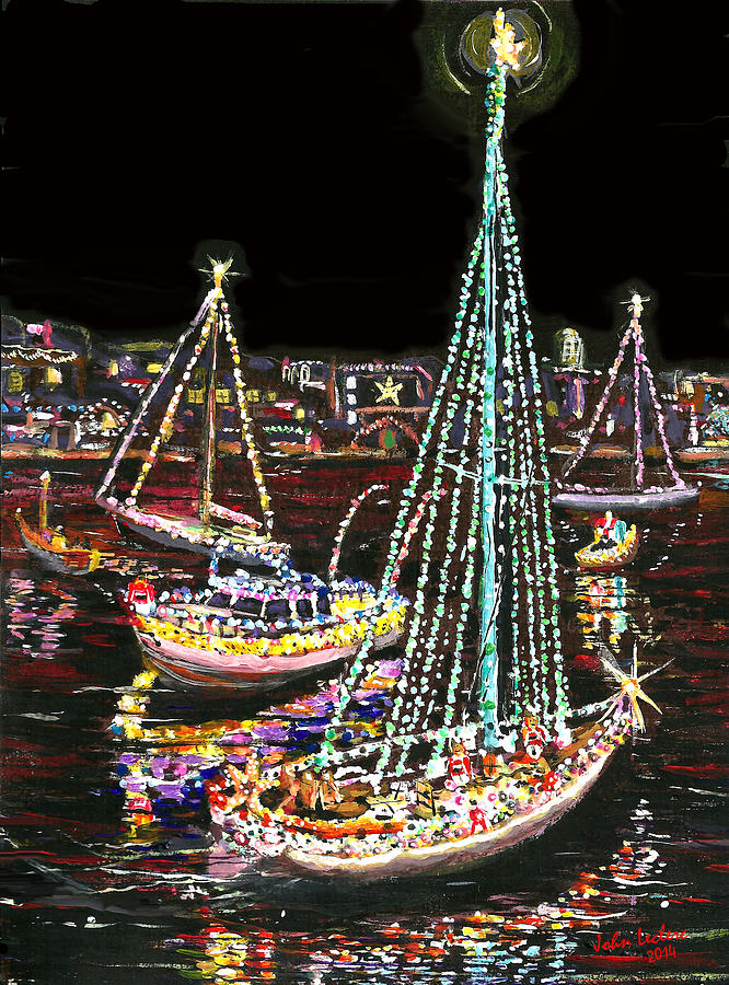 newport beach ca painting newport beach christmas boat parade by art by leclerc