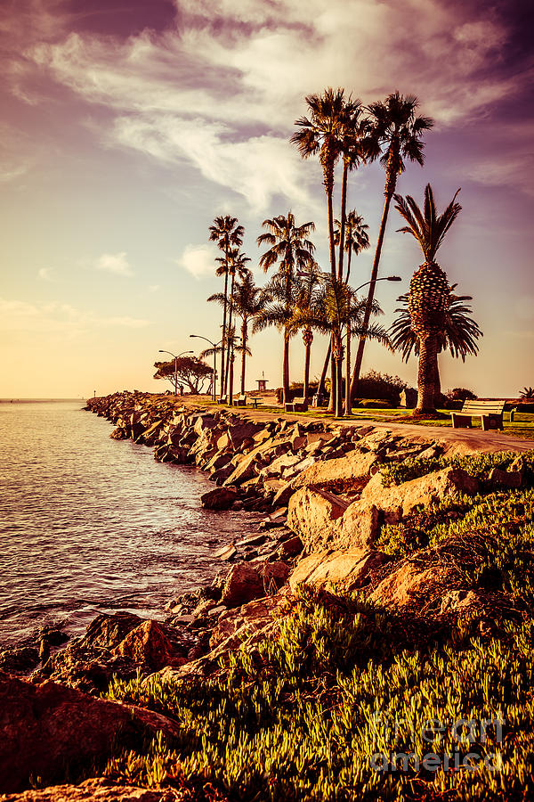 America Photograph - Newport Beach Jetty Vintage Filter Picture by Paul Velgos
