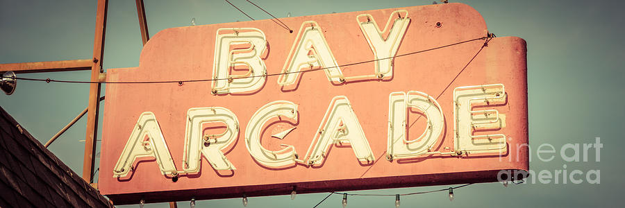 1960s Photograph - Newport Beach Panoramic Retro Photo Of Bay Arcade Sign by Paul Velgos