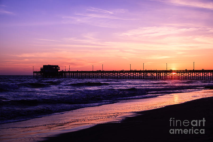 America Photograph - Newport Beach Pier Sunset In Orange County California by Paul Velgos