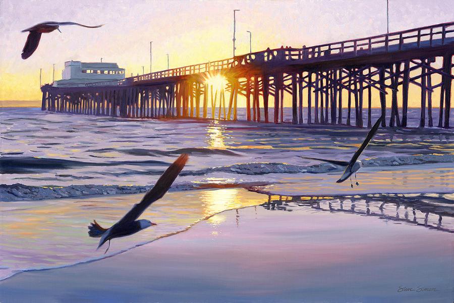 Seagulls Photograph - Newport Pier Sunset by Steve Simon