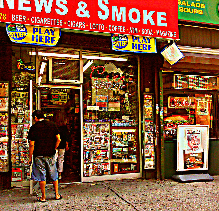 Convenience Store Photograph - News And Smoke - Play Here by Miriam Danar