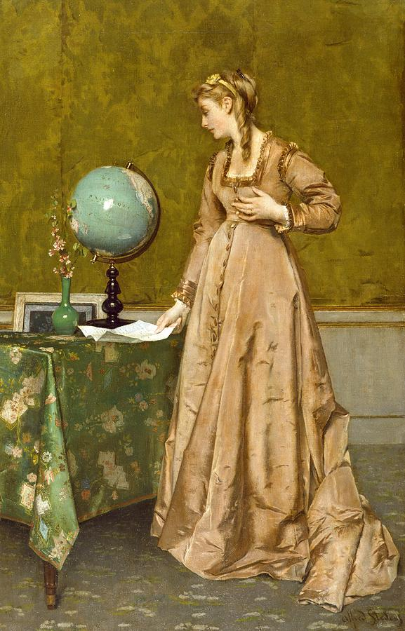Husband Overseas Painting - News From Afar by Alfred Emile Stevens