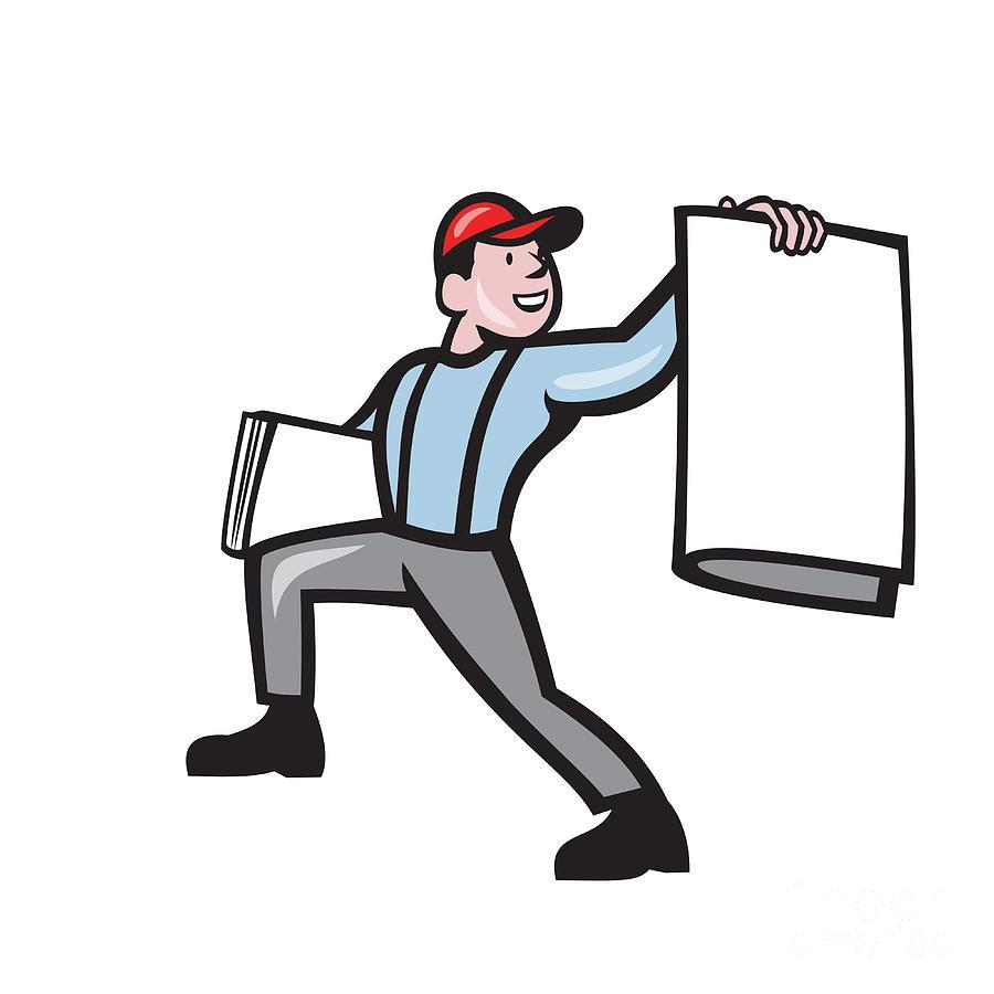 Newsboy Selling Newspaper Isolated Full Cartoon Digital