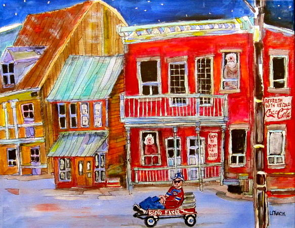 Brick Buildings Painting - Newspaper Delivery by Michael Litvack