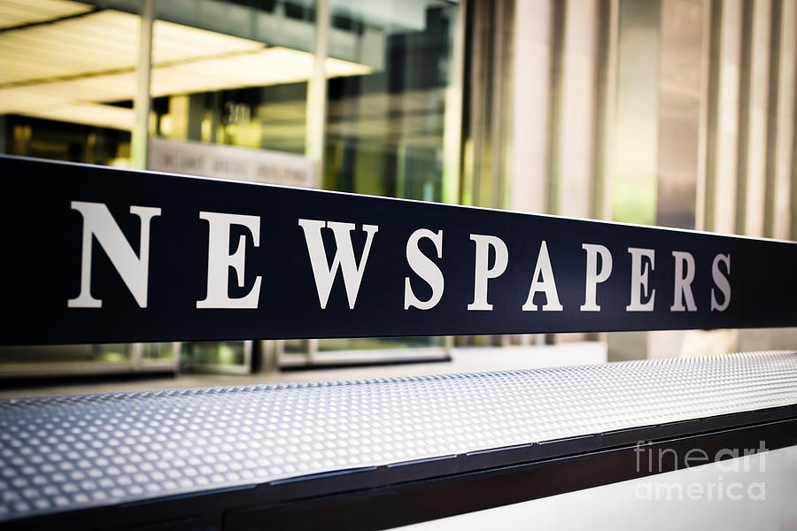Chicago Photograph - Newspapers Stand Sign In Chicago by Paul Velgos