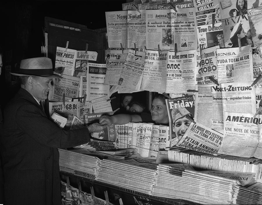 1941 Photograph - Newsstand, 1941 by Granger
